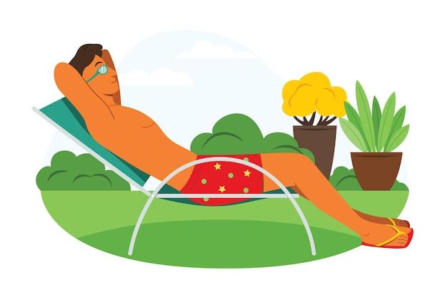 Man rust op de klapstoel in de tuin