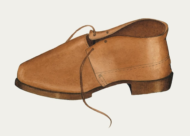 Man's bruine leren schoen vector, remix van artwork door marie mitchel