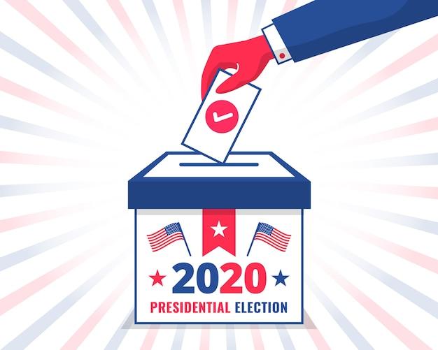 Man's hand stemmen in een stembus voor de amerikaanse presidentsverkiezingen van 2020