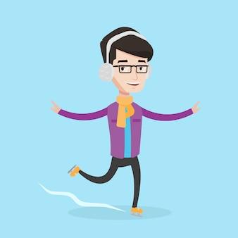 Man schaatsen vectorillustratie.