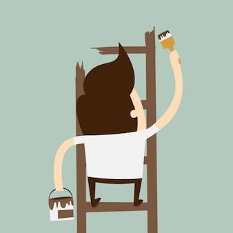 Man schilderen van een ladder op de muur
