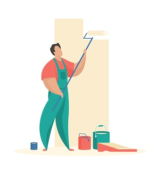 Man schildert muur met roller professioneel schilderen van interieur appartement en gebouwen