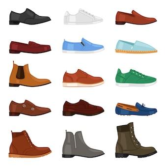 Man schoen mode mannelijke laarzen en klassieke lederen schoenen of schoeisel voor mannen illustratie set manlike voet versnelling schoenen met schoenveter in schoenenwinkel op witte achtergrond