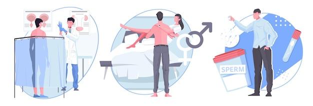 Man seksuele gezondheid platte composities met mannelijke karakters bij doktersafspraak gelukkig getrouwd stel en geslachtspictogrammen