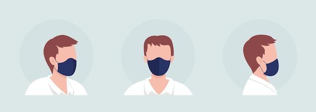 Man semi-egale kleur vector karakter avatar met masker set