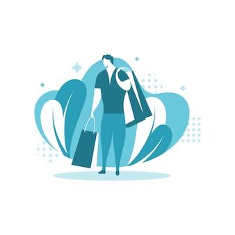 Man shopping-concept illustratie