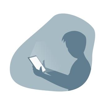 Man silhouet tablet pc in de hand houden platte vectorillustratie