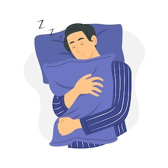 Man slaap en knuffel kussen