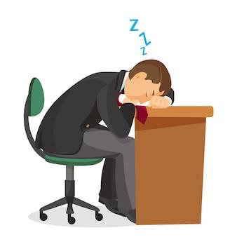 Man slaapt bij het zijaanzicht van het bureau. jonge man slapen op zijn werkplek. uitgeput student rusten. benadrukt overwerkt depressief mannetje slaapt aan tafel. illustratie in realistische de