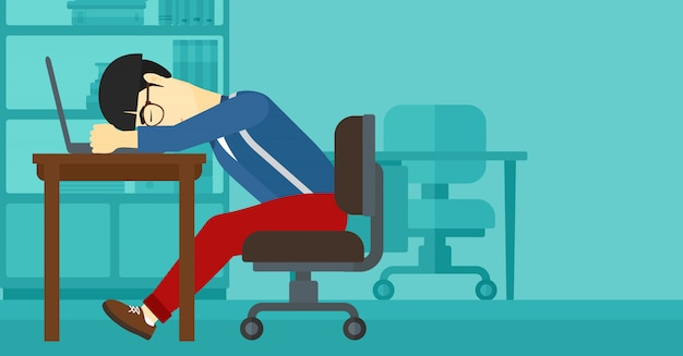 Man slapen op de werkplek.
