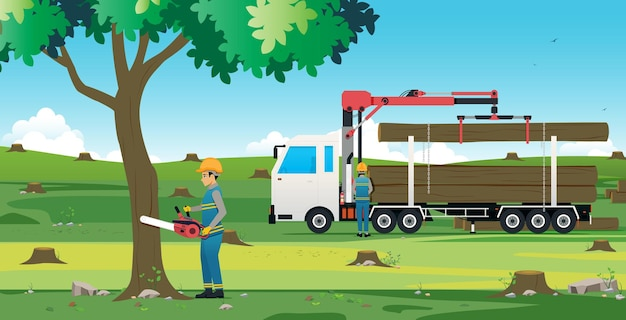 Man snijden boom met behulp van elektrische zaag met boom vrachtwagen