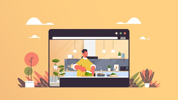 Man snijden sla voorbereiding van verse groenten salade gezonde voeding online koken concept moderne keuken interieur webbrowservenster horizontaal portret