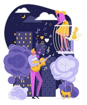 Man speel gitaar zingen lied voor vrouw op balkon