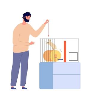 Man speelt met rat. huisdieren, wit knaagdier in kooi. geïsoleerde huis dier en eigenaar vectorillustratie. man speelt met knaagdier in kooi