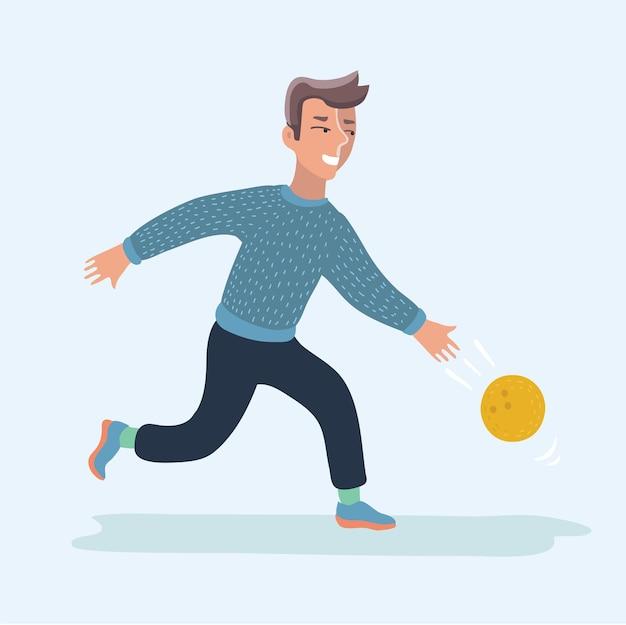 Man spelen bowling vector illustratie stripfiguur Premium Vector