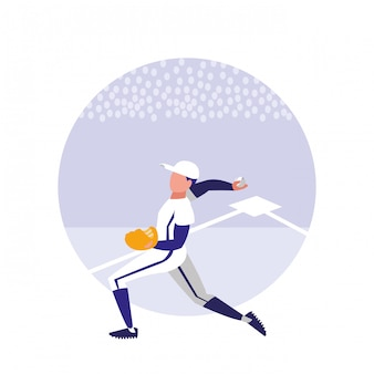 Man spelen honkbal geïsoleerd pictogram
