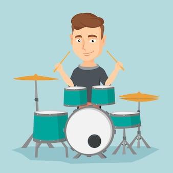 Man spelen op drumstel vectorillustratie.