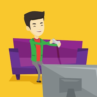 Man spelen van video game illustratie.