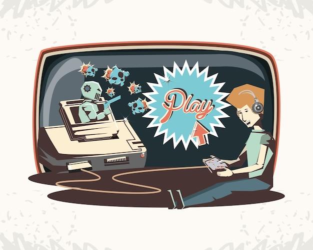 Man spelen video game retro vector illustratie ontwerp