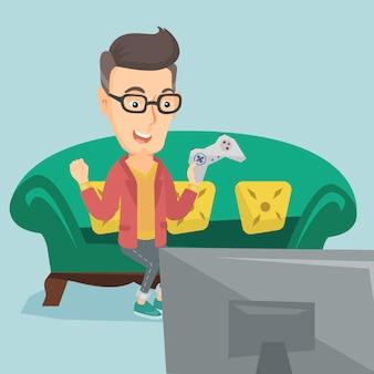 Man spelen video game vector illustratie.