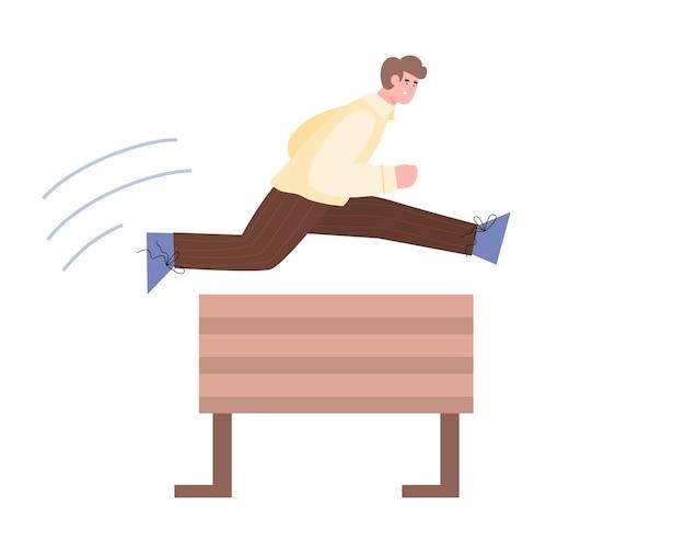Man springt over barrière met grote inspanning cartoon vectorillustratie geïsoleerd