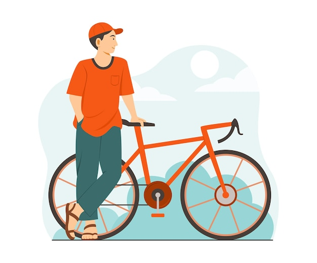 Man staat buiten met een fiets