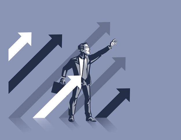Man staat tussen stijgende pijlen als symbool van zelfverzekerde bedrijfsleider klaar om vooruit te gaan en succes te maken
