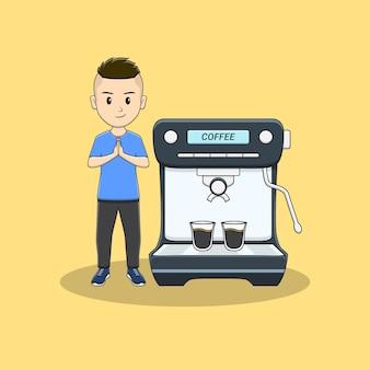 Man stand met schattige koffiemachine