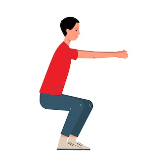Man stripfiguur doen squats sport oefeningen, illustratie op witte achtergrond. sportactiviteit, training en fitness voor heren.