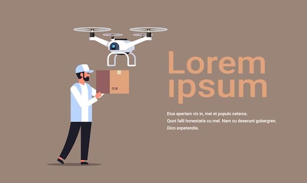 Man stuur drone luchtaflevering