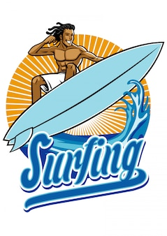 Man surf in actie