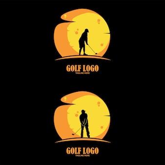 Man swingende golf, golfspelers, club, op zonsondergang achtergrond, grafische vector