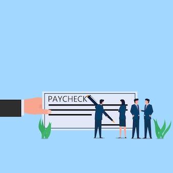 Man teken op looncheque papier metafoor van betaling. zakelijke platte concept illustratie.