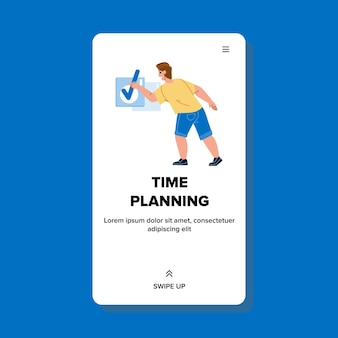 Man tijdplanning en inchecken notebook vector. zakenman tijdplanning en organisatie werken productiviteit en recreatie. karakter management schema web platte cartoon illustratie