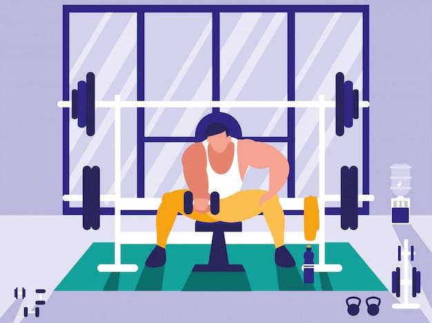 Man tillen gewichten in de sportschool