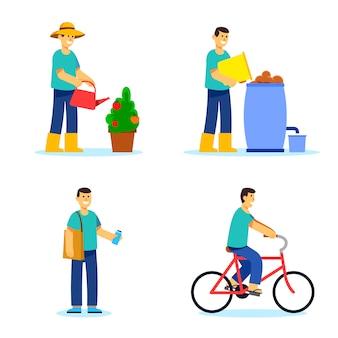 Man toepassen groene levensstijl illustratie