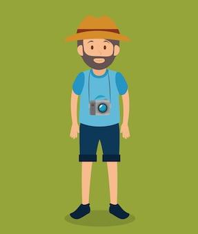 Man toeristische avatar karakter