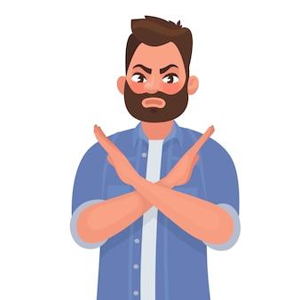 Man toont een gebaar nee of stop.