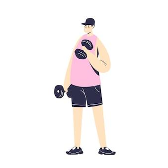 Man training met halters. jonge stripfiguur opleiding, fitness, sport en training concept. man oefenen