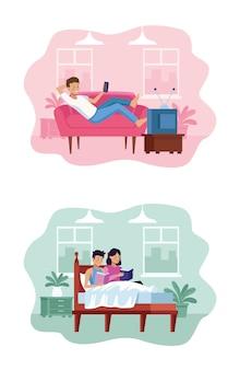 Man tv kijken en paar in het bed