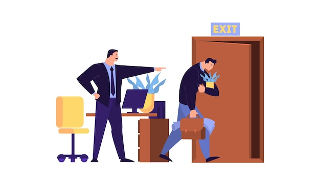 Man uit het werk gegooid. idee van werkloosheid. werkloze persoon, financiële crisis. illustratie