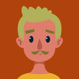 Man van middelbare leeftijd met groen haar homo-avatar portret van een schattig lgbt-personage vectorillustratie
