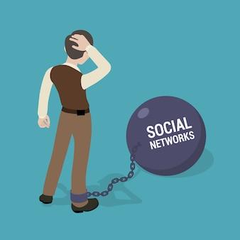 Man vastgeketend aan een enorme schaal met de inscriptie sociale netwerken