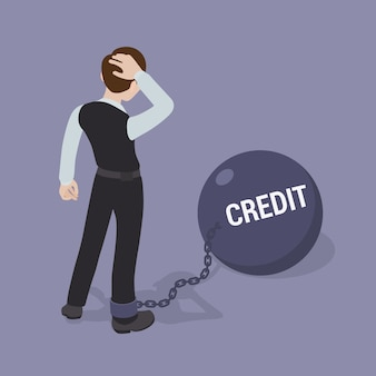 Man vastgeketend aan een enorme schaal met het opschrift krediet