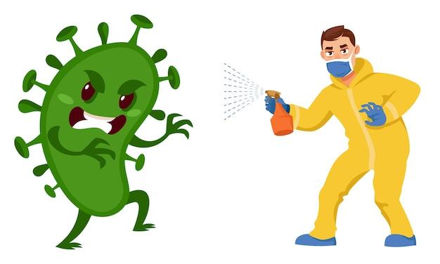 Man vecht tegen virus. mannelijk karakter in beschermend pak antiseptisch spuiten. gezondheidszorg concept.