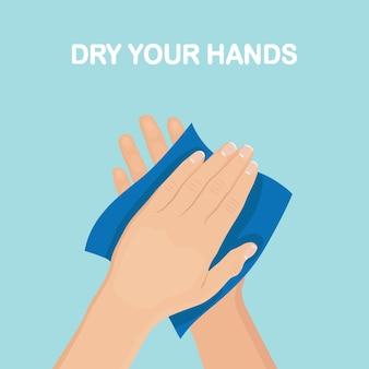 Man veeg, droog schone handen met servetten, papieren handdoek. hygiëne, goede gewoonten concept.