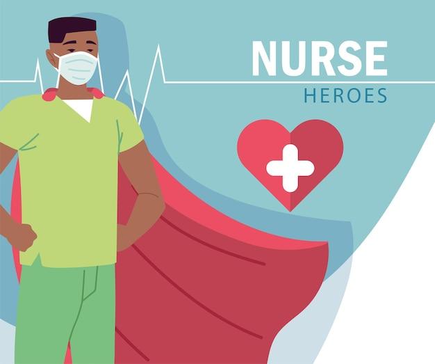 Man verpleegster met cape cartoon