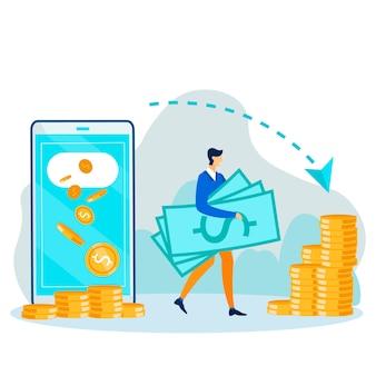Man verricht financiële operaties met behulp van mobiele telefoon