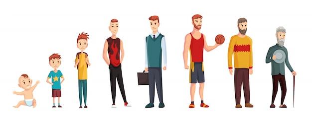 Man verschillende leeftijden. pasgeboren baby-, tiener- en studentleeftijden, volwassen man en oude grootvader. levenscyclus