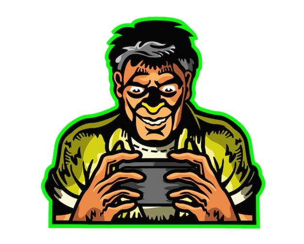 Man verslaafd aan mobiel spel cartoon mascot-embleembadge